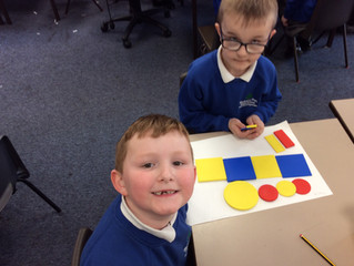 Examing 2D shapes and repeating patterns.