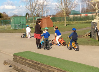 We have been learning to ride our bikes!
