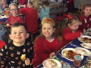 Christmas dinner in our festive jumpers
