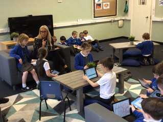 Class Beech's first trip to the new Learning Lounge