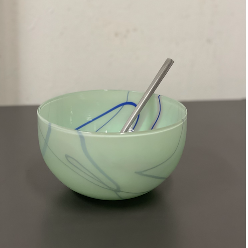 Mint bowl with blue stripes