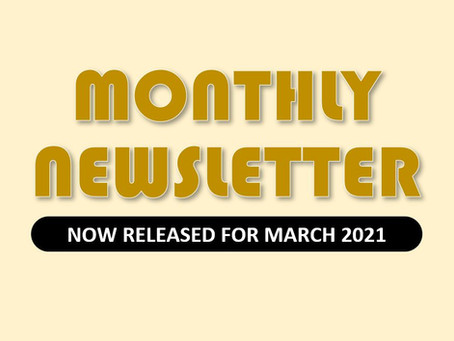 Monthly Newsletter for March 2021