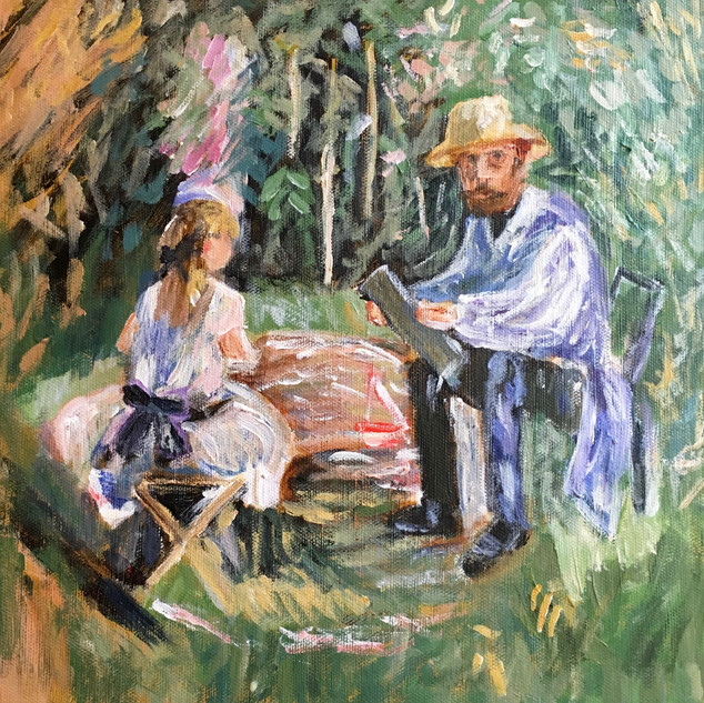 """EUGENE MANET AND HIS DAUGHTER IN THE GARDEN"" BY MORISOT"