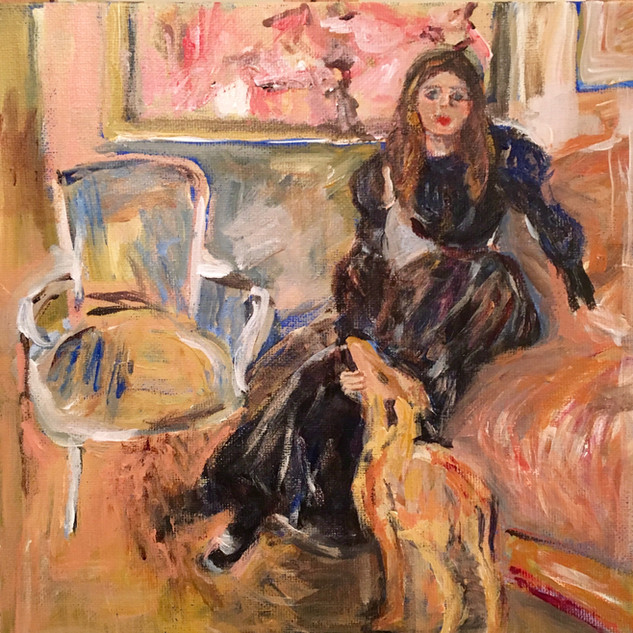 """YOUNG GIRL WITH GREYHOUND"" BY MORISOT"