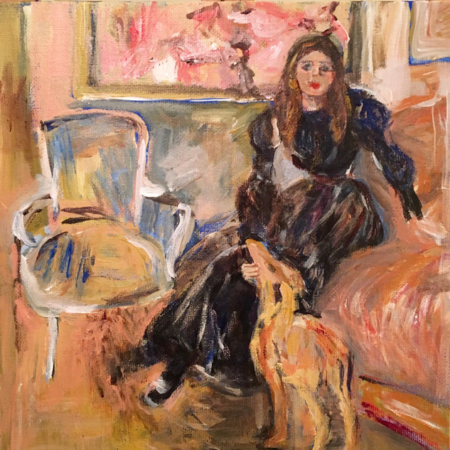 """""""YOUNG GIRL WITH GREYHOUND"""" BY MORISOT"""