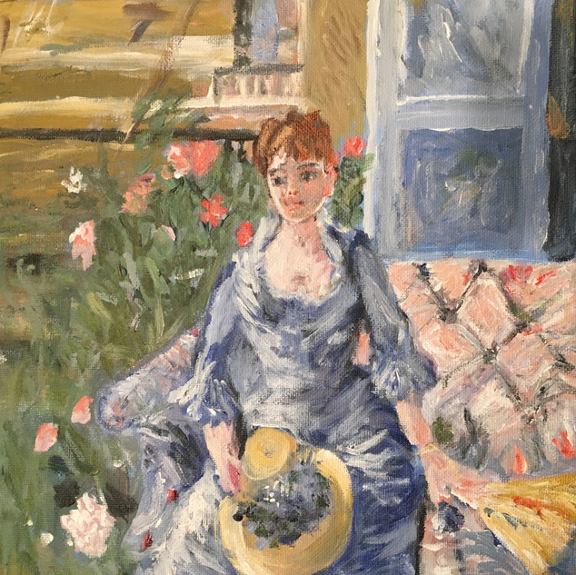 """""""YOUNG WOMAN SEATED IN A SOFA"""" BY MORISOT"""
