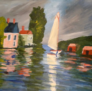 """""""HOUSES ON THE WATER"""" BY MONET"""
