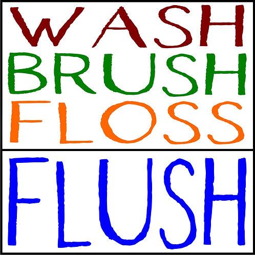 WASH BRUSH FLOSS FLUSH STEP STOOL