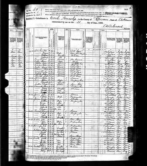 Hennessee, Hilderbrandt | 1880 Census Records