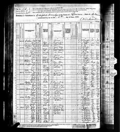 Agee, Alford, Collins | 1880 Census Records