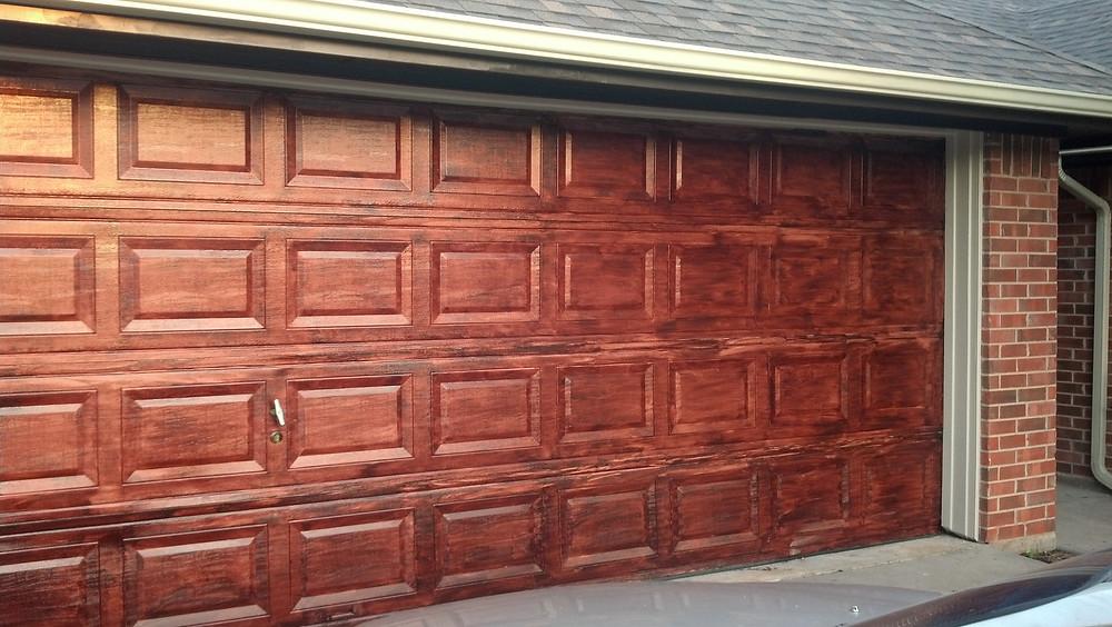 Stain Your Garage Door To Look Like Wood