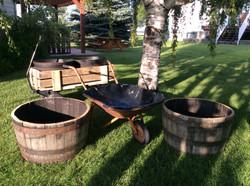 Drink containers barrels wagon wheelbarrel