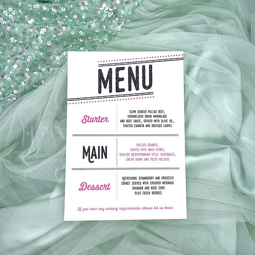 Vintage Block Typography Menu