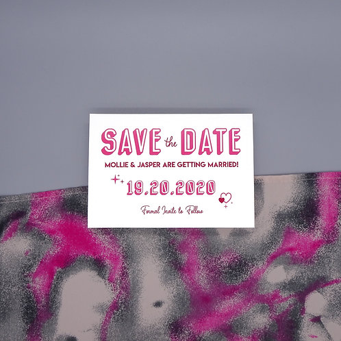 Pink Heart and Stars Save the Date