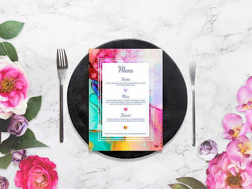 Watercolour Menu