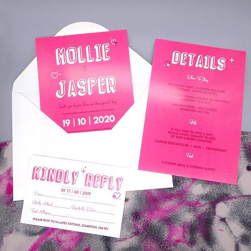 Pink Heart and Stars Wedding Set