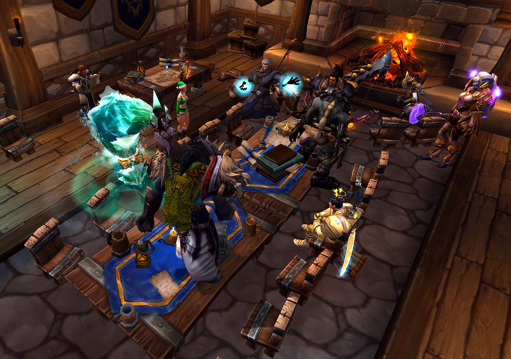 A few World of Warcraft guildies partying at my garrison.