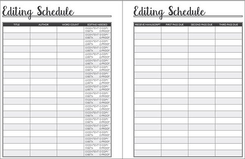 Editing Schedule