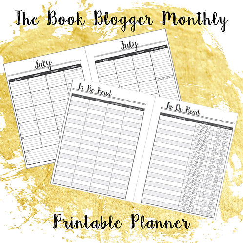 The Book Blogger Monthly Printable Planner