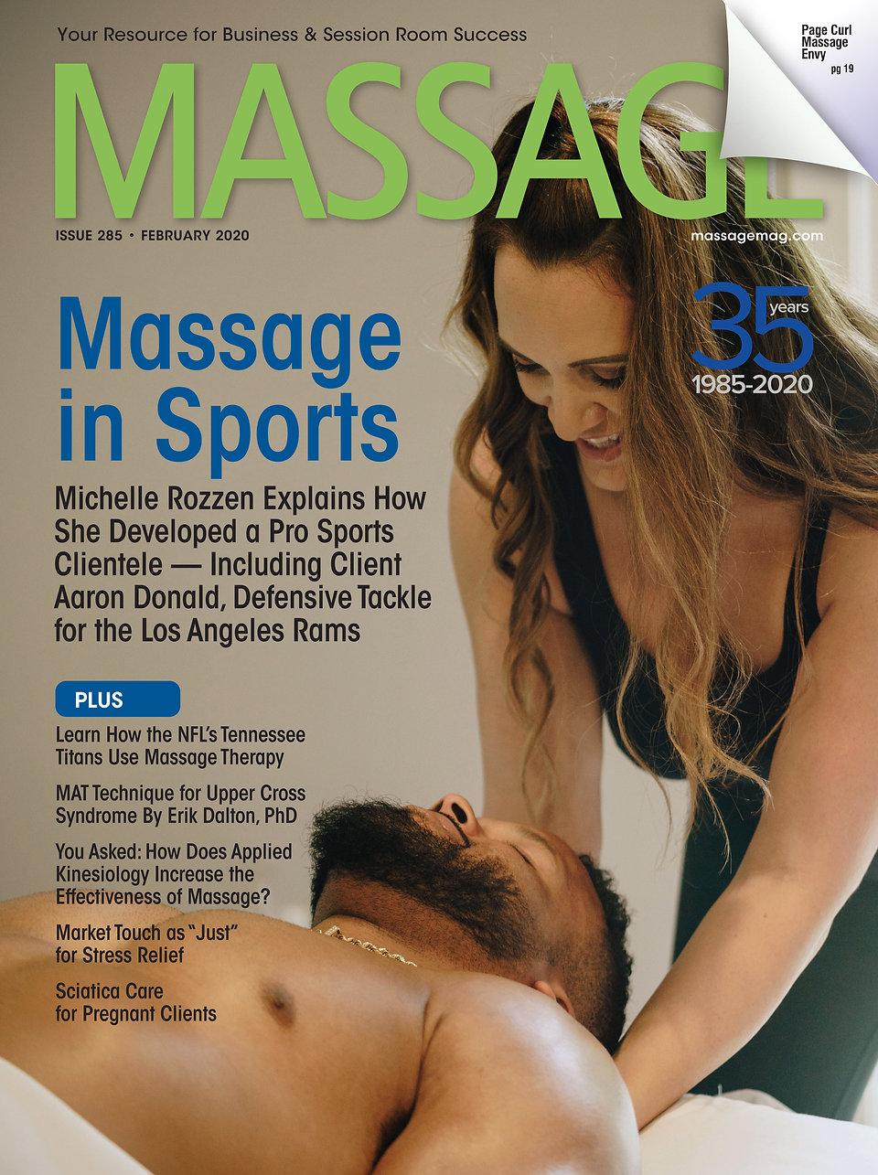 Massage Magazine February 2020 Michelle Rozzen Massage in Sports Aaron Donald