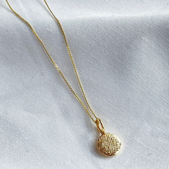 ELC Image 4 Striking Textured 9ct Gold Dainty Disc Pendant.png