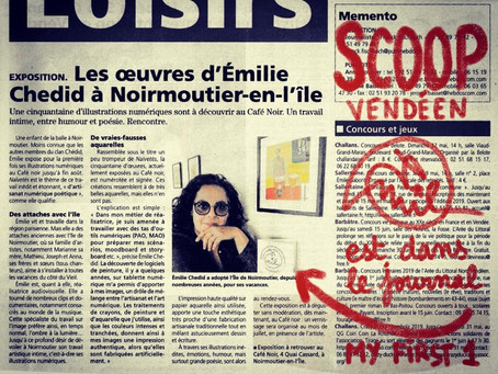 Courrier vendéen : tout premier article pour Emil illustrations Exposition estivale à noirmoutier