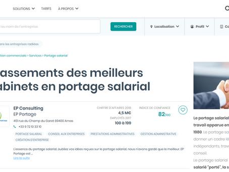 Le site B Reputation précise que EP Portage fait partie des meilleures sociétés de portage salarial