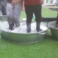 Children jumping in water