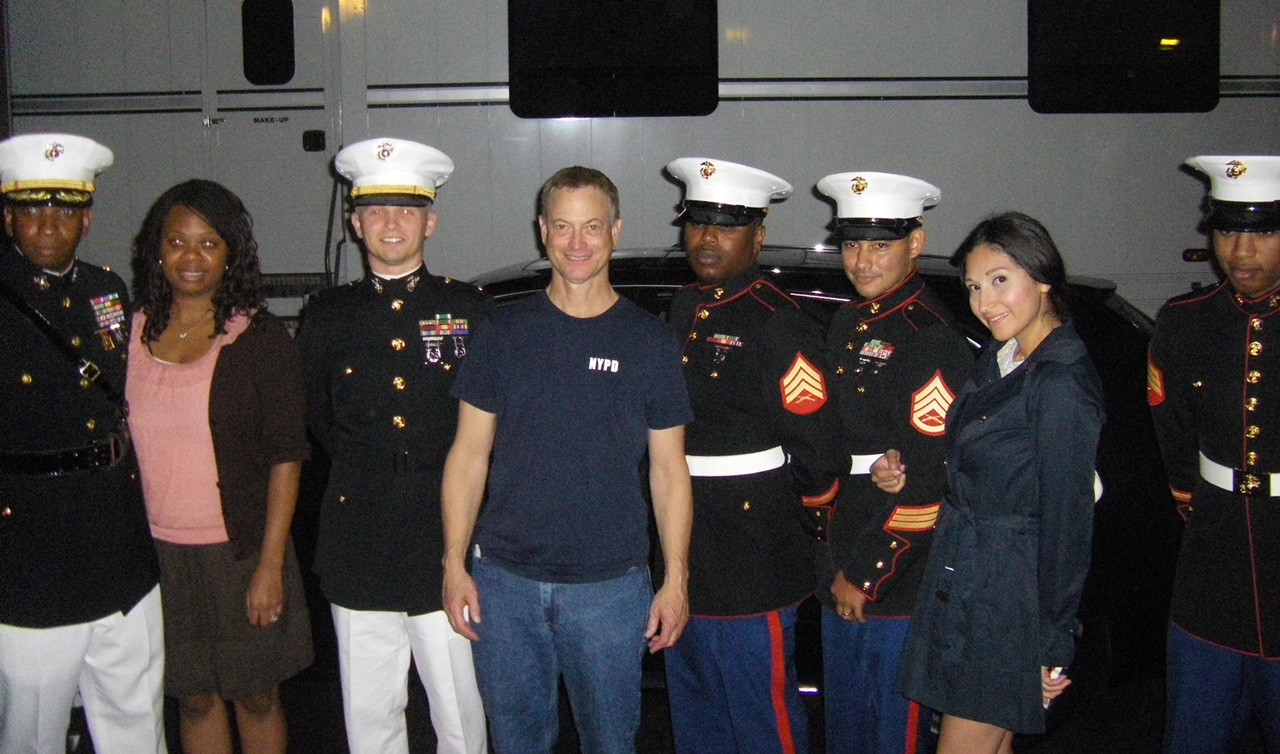 Gary Sinise with troops and their guests at the Lieutenant Dan Band concert here on the CBS lot
