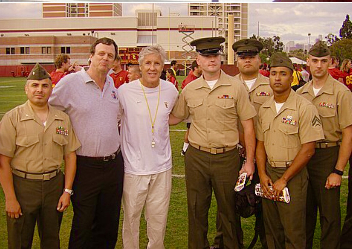 Our ongoing event with the Wounded Warrior Batallion West involves visiting USC during their spring practices. Here are some of our troops with USC coach Pete Carroll.