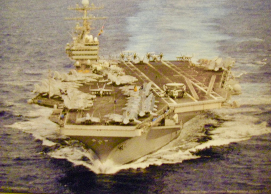 CVA 76 USS Ronald Reagan, with a ship company of almost 6,000 men and women when deployed with the air wing.