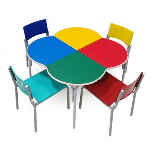 conjunto trevo pré-escolar mesa com 4 cadeoras