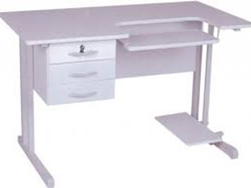 mesa de trabalho com porta-teclado e porta-cpu