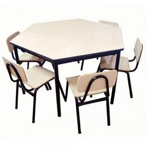 conjunto pré-escolar sextavado com 6 cadeiras
