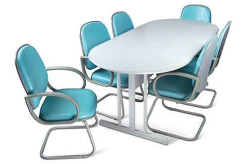 mesa reunião oval em mdf de 18mm, estrutura em aço