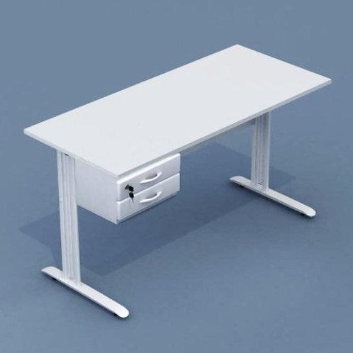 mesa de trabalho em mdf retangular estrutura em aço