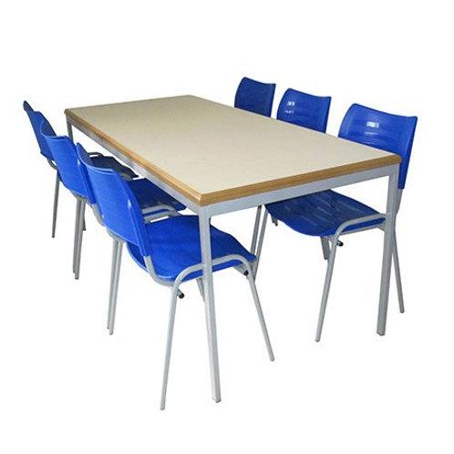 conjunto biblioteca / refeitório ADULTO com 6 cadeiras em POLIPROPILENO