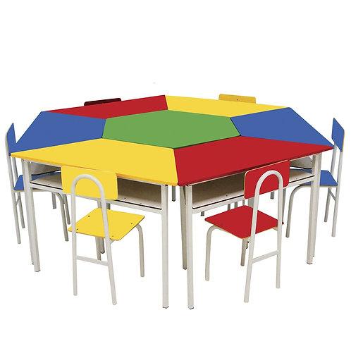 conjunto modulo circular INFANTIL com 6 cadeiras