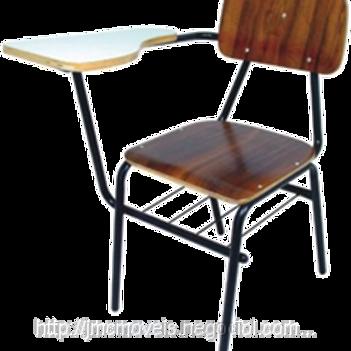 cadeira universitária anatômica assento e encosto imbuia com braço em formica