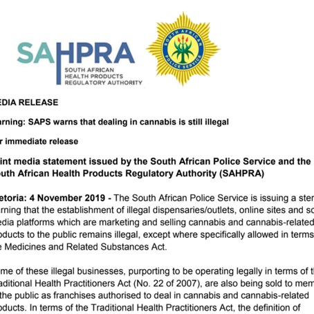 Warning: SAPS warns that dealing in cannabis is still illegal
