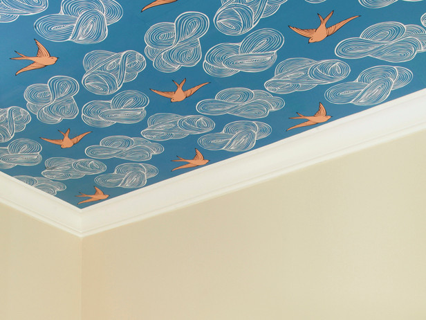 wall paper on ceiling