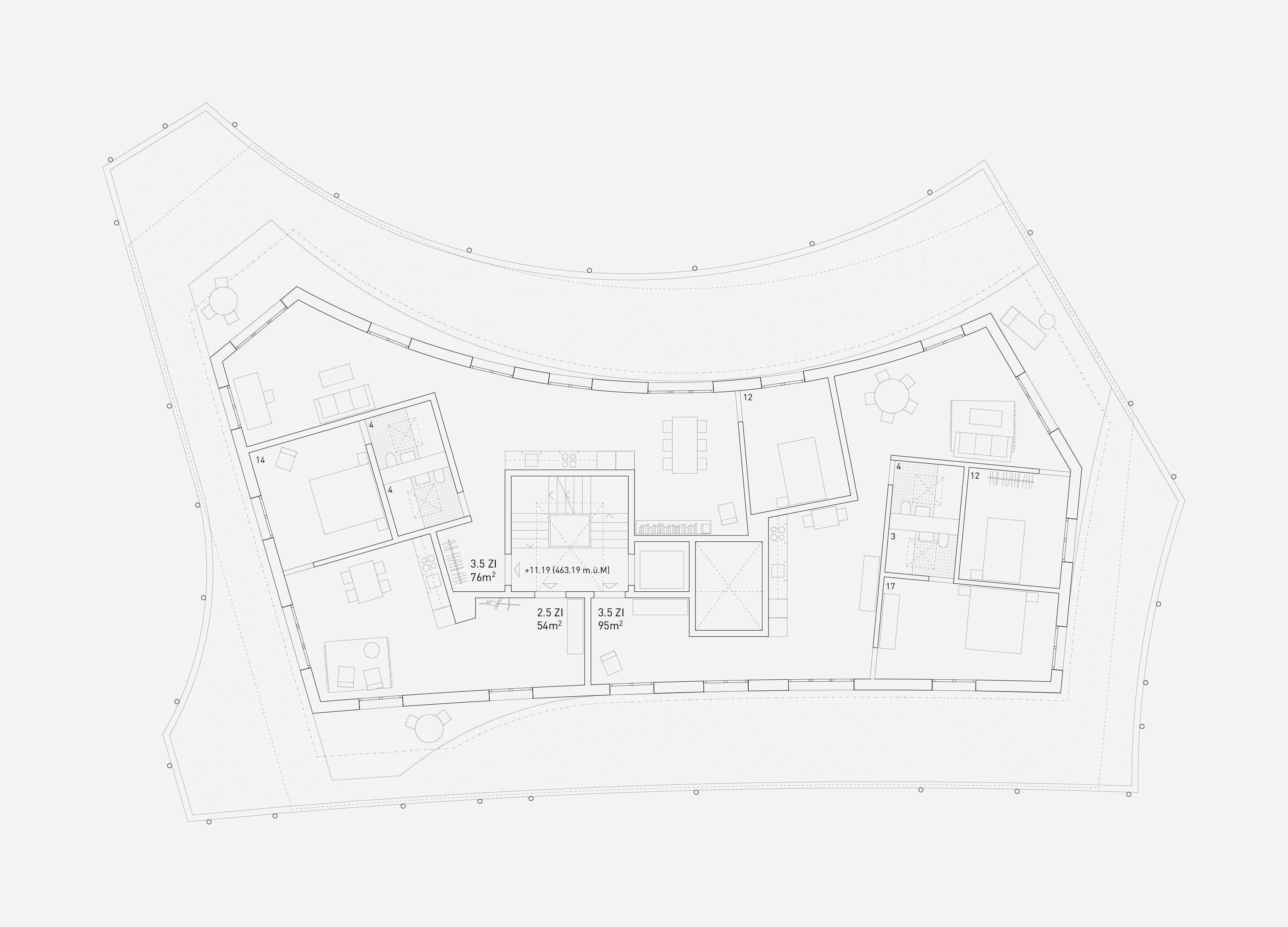 Neubau Wohnhaus Forelhausstiftung Zürich: Dachgeschoss