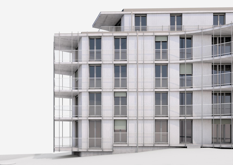 Neubau Wohnhaus Forelhausstiftung Zürich: Fassadenstudie