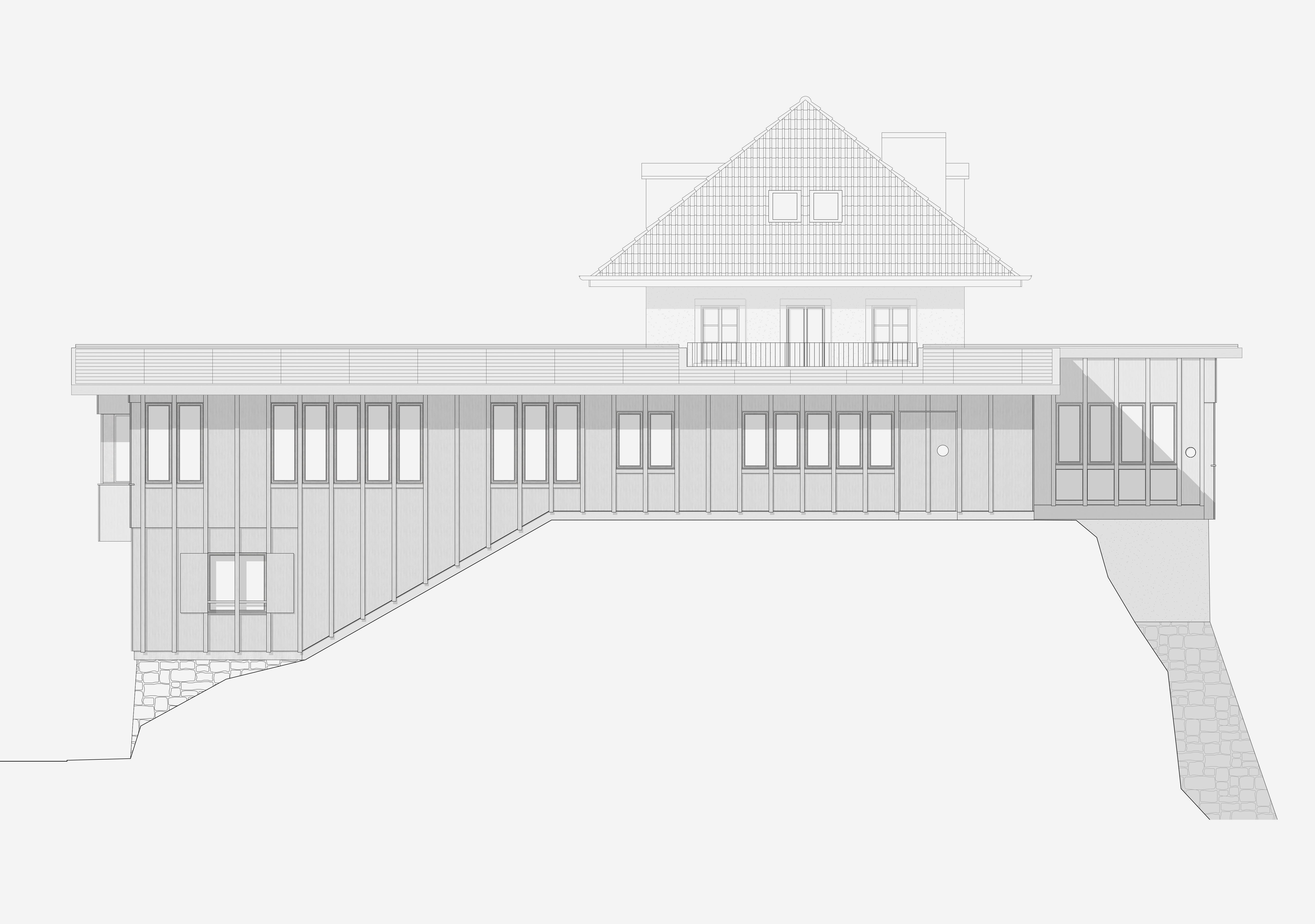 Sanierung Bergrestaurant Lägern Hochwacht: Ostfassade
