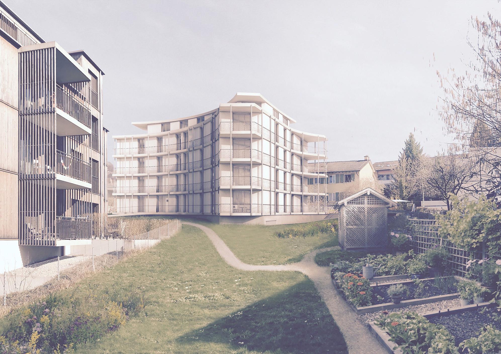 Neubau Wohnhaus Forelhausstiftung Zürich: Gartenansicht