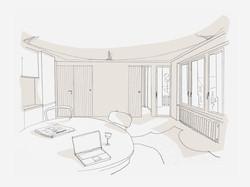 Umbau Wohnhaus Zürich: Entwurfsskizze 2-Zimmer Wohnung