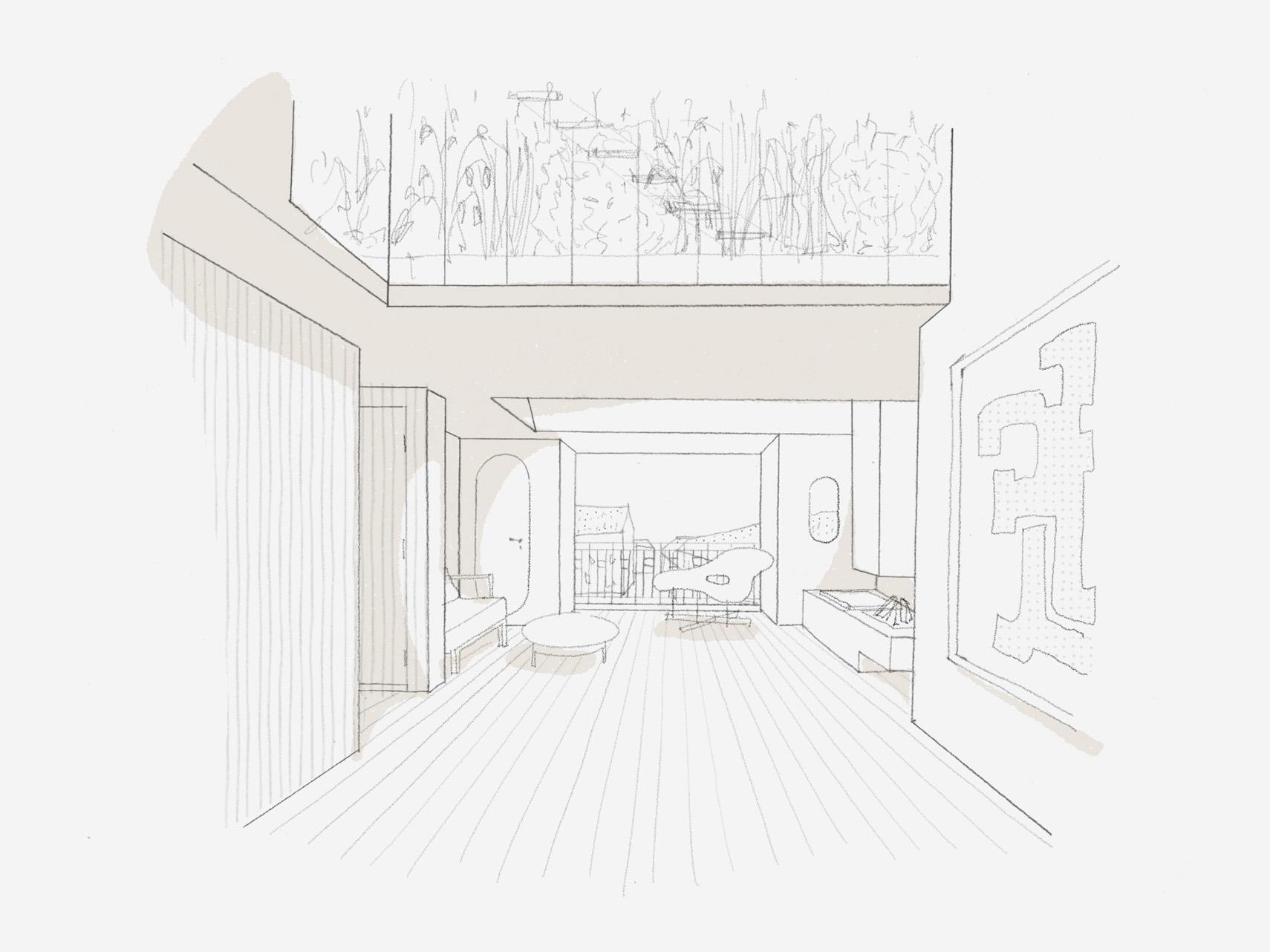 Umbau Wohnhaus Zürich: Entwurfsskizze Dachwohnung