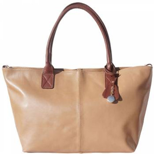 Work/Shopping Tote Bag (Lt Taupe/Brown)