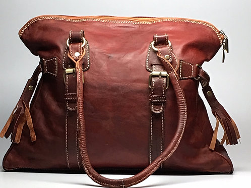 Moroccan Leather Satchel (Reddish Brown)