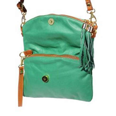 Convertible Clutch/Small Hobo Bag (Green/Tan)